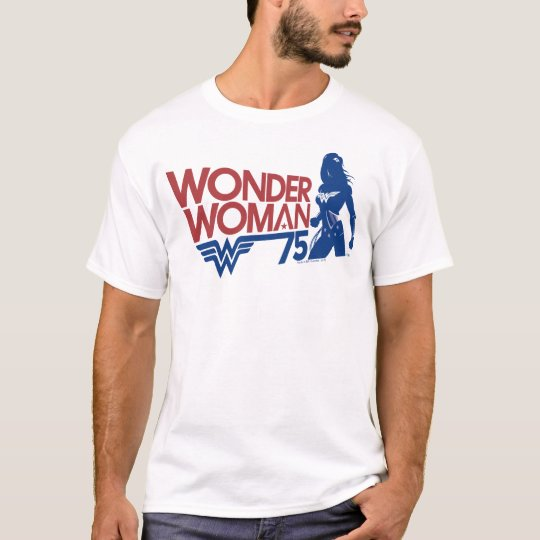 Wonder Woman 75th Anniversary Red & Blue Logo T-Shirt