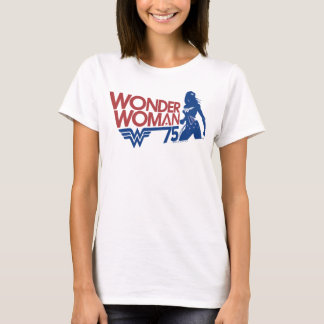 Wonder Woman 75th Anniversary Red & Blue Logo T-Shirt