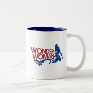 Wonder Woman 75th Anniversary Red & Blue Logo Two-Tone Coffee Mug