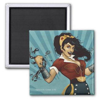 Wonder Woman Amazonians Unite Vintage Poster Square Magnet