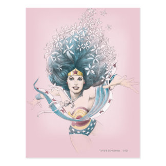 Wonder Woman and Flowers Postcard