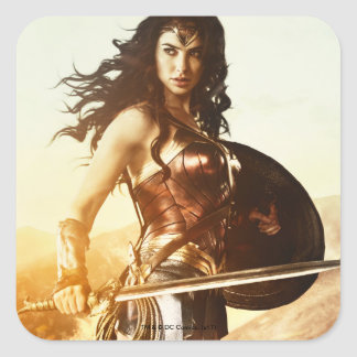 Wonder Woman At Sunset Square Sticker