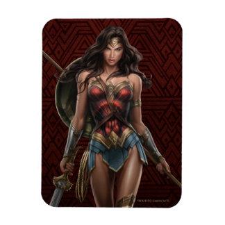 Wonder Woman Battle-Ready Comic Art Rectangular Photo Magnet