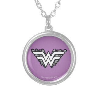 Wonder Woman Black Lace Logo Silver Plated Necklace