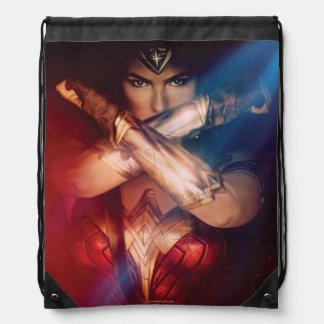 Wonder Woman Blocking With Bracelets Drawstring Bag
