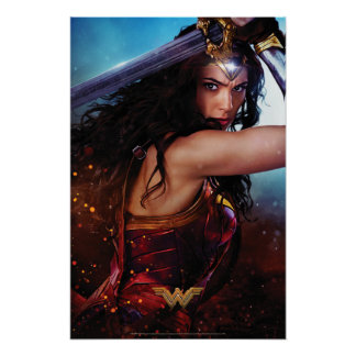 Wonder Woman Blocking With Sword Poster