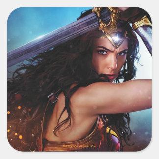 Wonder Woman Blocking With Sword Square Sticker