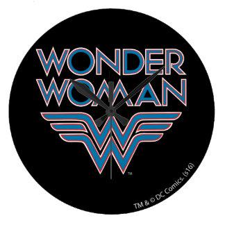 Wonder Woman Blue and Red Retro Logo Clock
