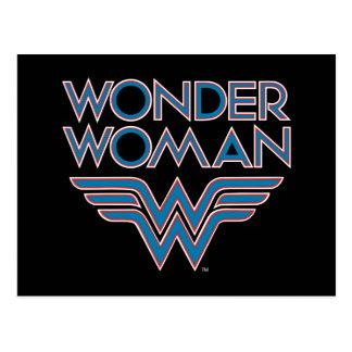 Wonder Woman Blue and Red Retro Logo Postcard