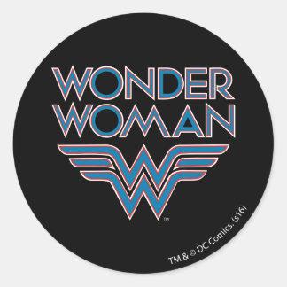 Wonder Woman Blue and Red Retro Logo Round Sticker