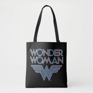 Wonder Woman Blue and Red Retro Logo Tote Bag