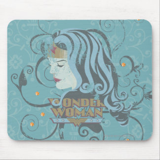 Wonder Woman Blue Background Mouse Pad