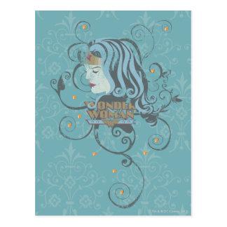 Wonder Woman Blue Background Postcard