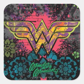 Wonder Woman Brick Wall Collage Square Sticker