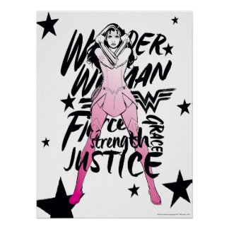 Wonder Woman Brush Typography Art Poster