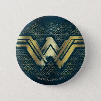 Wonder Woman Brushed Gold Symbol 2 Inch Round Button