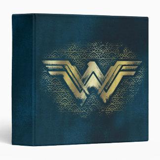 Wonder Woman Brushed Gold Symbol 3 Ring Binders
