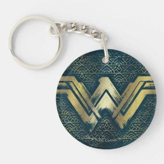 Wonder Woman Brushed Gold Symbol Double-Sided Round Acrylic Keychain