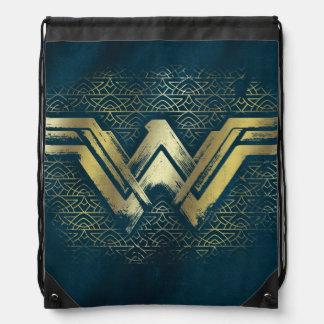 Wonder Woman Brushed Gold Symbol Drawstring Bag