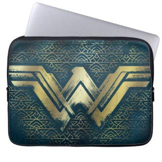 Wonder Woman Brushed Gold Symbol Laptop Sleeve