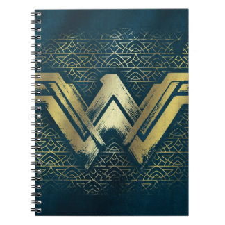Wonder Woman Brushed Gold Symbol Notebook