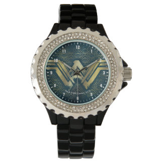 Wonder Woman Brushed Gold Symbol Watch