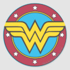 Wonder Woman   Circle & Stars Logo Classic Round Sticker