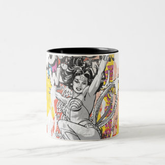 Wonder Woman Collage 1 Two-Tone Coffee Mug