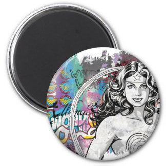 Wonder Woman Collage 6 2 Inch Round Magnet