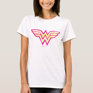 Wonder Woman Colorful Pink and Yellow Logo T-Shirt