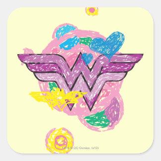 Wonder Woman Colorful Scribbles Square Sticker