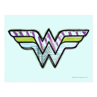 Wonder Woman Colorful Sketch Logo Postcard