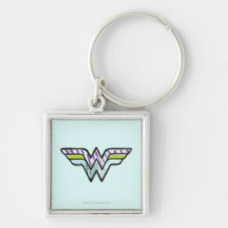 Wonder Woman Colorful Sketch Logo Silver-Colored Square Keychain