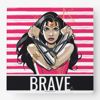 Wonder Woman Defend - Template Square Wall Clock
