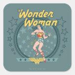 Wonder Woman Distressed Star Design Square Stickers
