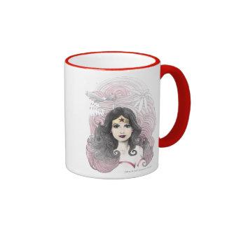 Wonder Woman Eagle and Trees Ringer Mug