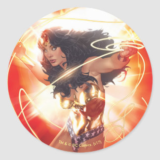Wonder Woman Encyclopedia Cover Classic Round Sticker