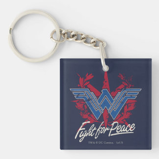 Wonder Woman Fight For Peace Symbol Double-Sided Square Acrylic Keychain