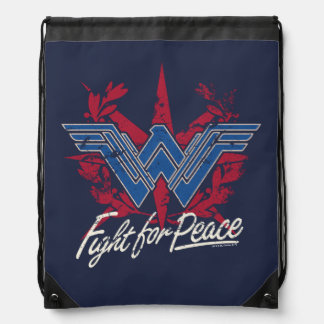 Wonder Woman Fight For Peace Symbol Drawstring Bag
