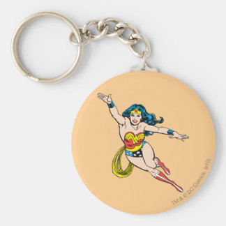 Wonder Woman Flying Forward Basic Round Button Keychain