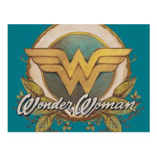 Wonder Woman Foliage Sketch Logo Postcard