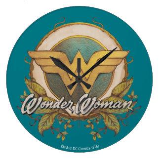 Wonder Woman Foliage Sketch Logo Wallclocks