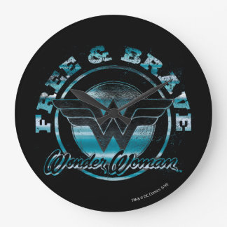 Wonder Woman Free & Brave Grunge Graphic Large Clock