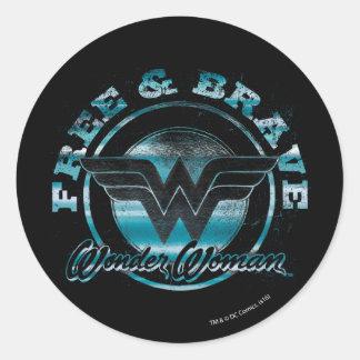 Wonder Woman Free & Brave Grunge Graphic Round Sticker