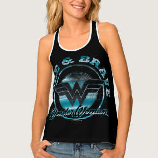 Wonder Woman Free & Brave Grunge Graphic Tank Top