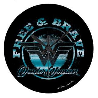 Wonder Woman Free & Brave Grunge Graphic Wallclock