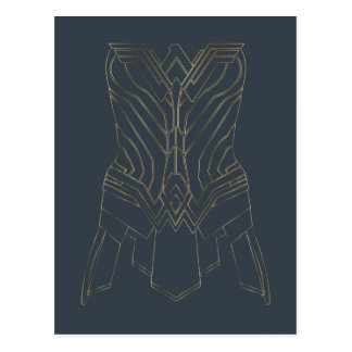 Wonder Woman Gold & Navy Armor Outline Postcard