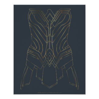 Wonder Woman Gold & Navy Armor Outline Poster