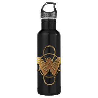 Wonder Woman Gold Symbol Over Lasso 710 Ml Water Bottle