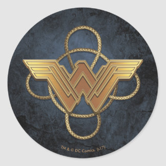 Wonder Woman Gold Symbol Over Lasso Classic Round Sticker